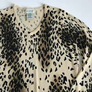 Animal Print Sweater / Top White Stag Size Large
